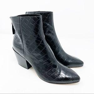 Dolce Vita Bel Booties Black Croc Leather 7.5 NEW